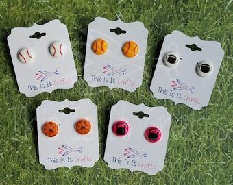 Sport Perler Bead Earrings - Fitness Perler Bead Earrings - Baseball, Softball, Football, Basketball,Kettlebell