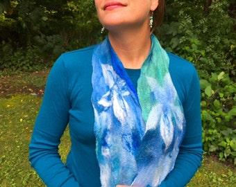 Floral wool & silk scarf