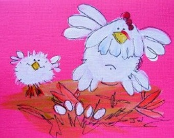 These barnyard chickens are easy to paint.  They are whimsical and humorous.