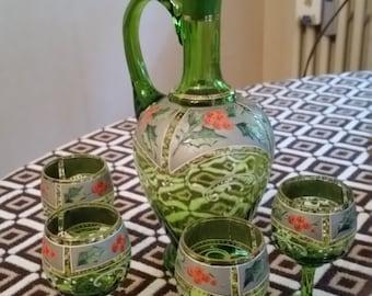 Ancient liquor Service 4-bottle and glasses Rosolio