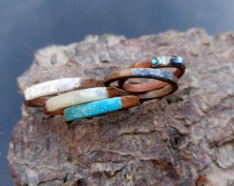 Single bentwood stacking ring various stones