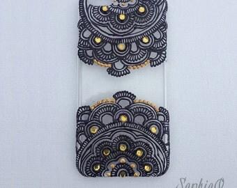 Purple and gold henna inspired handmade iPhone 6 case