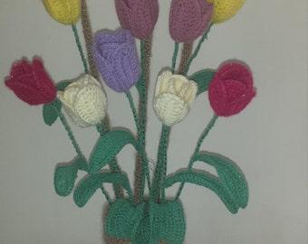 Crochet tulips vase