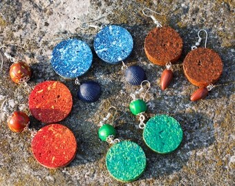 Cork earrings and fimo green, red, blue and Brown. Green, Earth, fire and water.