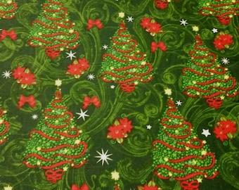 Christmas Trees on Green Swirl Fabric