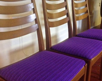 4 60s/70s danish style retro dinning chairs with purple reupholster