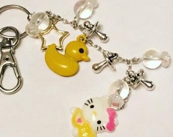 Yellow kitty duck keychain