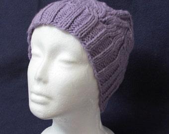 Lavender hand-knit beanie