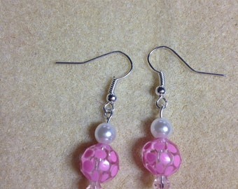 Pink glass flower bead earrings