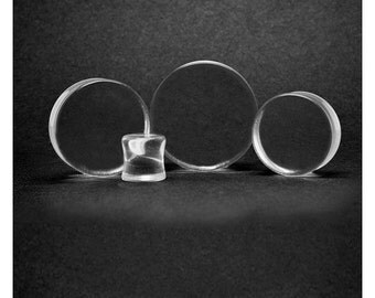 Pair of 30mm Clear Glass Plugs
