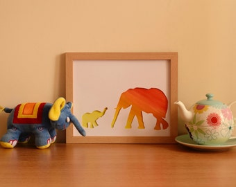 Elephants - mother and baby, without frame
