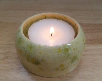 Yellow and Green Glazed Ceramic Bowl/Tealight Holder