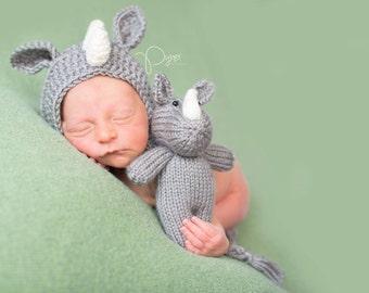 Newborn Knit Rhino Stuffie - Newborn Bonnet - Stuffed Animal - Plush Photography Prop - Newborn Knit Photography - Rhinoceros