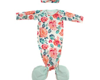 Bold Floral Mermaid Baby Gown & Headband