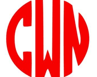 Personalized Circle Monogram Adhesive Vinyl Decal