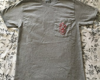 hand embroidered heart on your shirt pocket tee