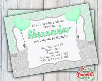 ELEPHANT BABY SHOWER Invitation Party Birthday Baby girl boy