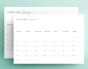 SALE: 2017 Calendar.  Printable monthly calendar
