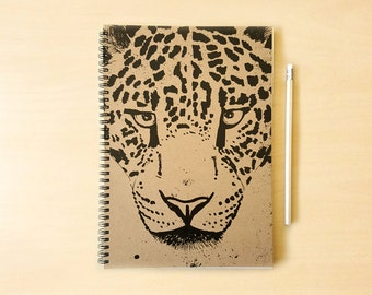 Leopard Kraft Notebook/Sketchbook Spiral Bound - Blank pages