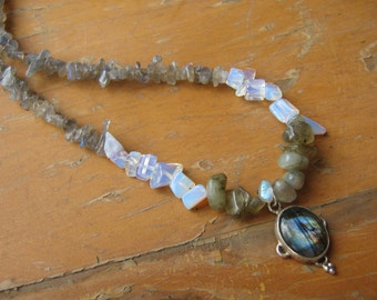 Mystical Moonstone and Labradorite Necklace