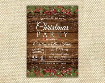 Christmas Party Invitation. Christmas Dinner. Rustic Christmas Invitation. Rustic Winter Invitation. Christmas Invitation Printable.