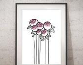 Peony in bud - INSTANT DOWNLOAD - Illustration Art, Pink, Printable Art, Minimalist, Illustration Artwork, Digital Art, Peony, Vintage