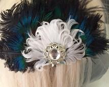 Peacock and Feather Mini Fan Fascinator