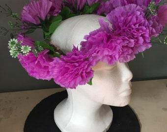 Purple chrysanthemum floral headdress