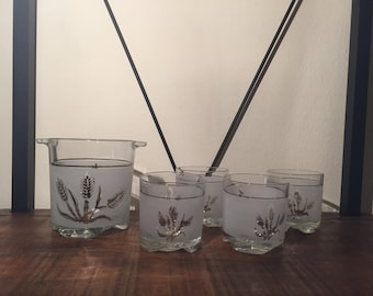 Italian DeValBor Mid Century Old Fashioned Ice Bucket and 4 Whiskey Glasses