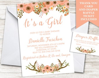 Boho Deer Baby Shower Invitation Girl Invite 5x7 Sprinkle Antlers Digital Personalized