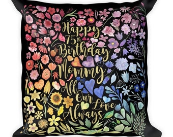 Personalized Floral Celebration/Greeting Pillow/Throw pillow/Tote Bag/Book Bag