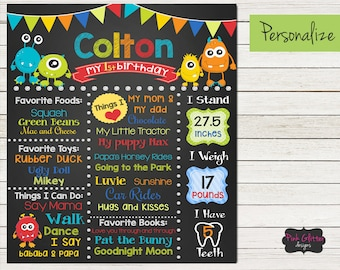 DIGITAL FILE, Monster Birthday Board, Monster Chalkboard, Monster Birthday Party, Monster Party, Monster Birthday Decorations, Monsters