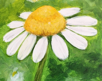 Chamomile Blossom Painting 8x8