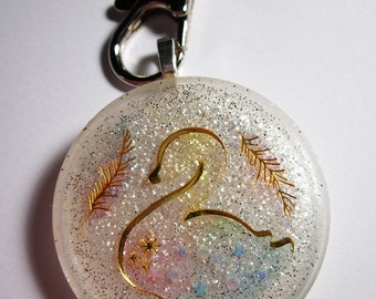 "Elegant Swan Resin Charm Keychain [1.5""] (Silver/Gold/White)"