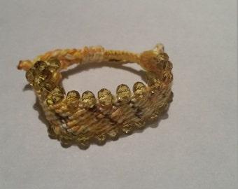 Home made Swarovski bracelet. Woman's/ girls braclets Christmas present, yellow bracelet, braclets. Birthday gift.