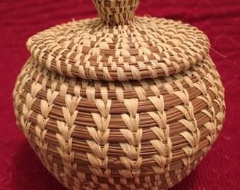 COUSHATTA INDIAN Double Woven Basket by Adrian Sylestine