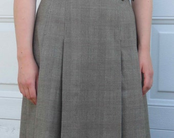 Moving Sale! Flattering and Unique Long Pleated Skirt, Fit and Flare Grey Tweed High-Waisted 50's Style Skirt, Japanese Vintage, Size Small