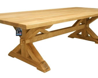 French Rustic Oak Farmhouse Table : Seats 8