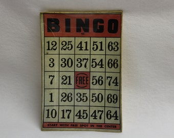 Vintage Glass Bingo Card Tray