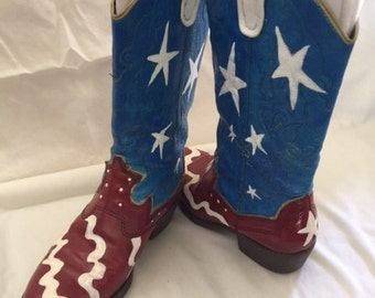 Hand Painted Flag Boots