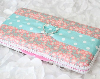 Pink and Teal Flowered Fabric and a Rhinestone Heart Buckle Travel Wipes Case