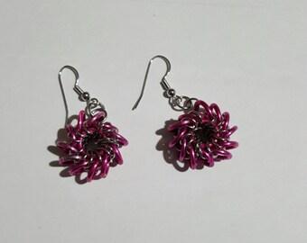 Razor Back Earrings in Hot Pink