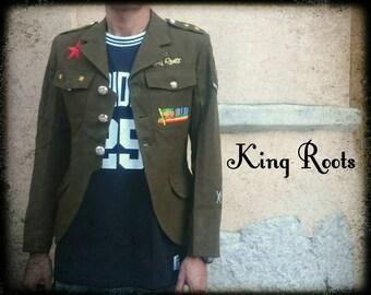 Lined jacket military vintage Rastafarian Jah Army