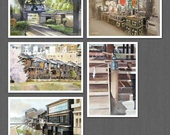 Kamo, Kyoto-Higashiyama watercolor post card 5pcs