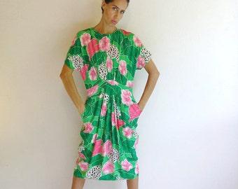 vintage dress,80s vintage dress, April Rain vintage dress,colorful dress