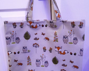 Large woodland theme oilcloth tote bag