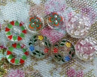 Pretty flower design vintage glass buttons × 8