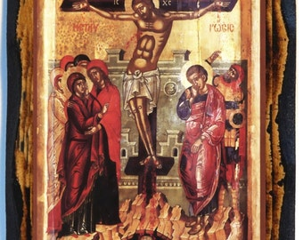 Crucifixion of Jesus Greek Orthodox Russian Mount Athos Byzantine Christian Catholic Icon on Wood