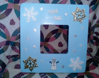 Think Snow ~ Wooden picture frame