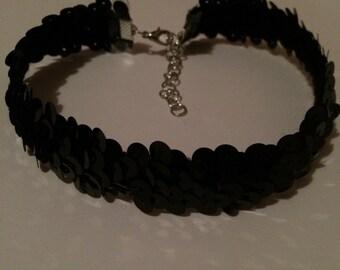 Sequin elasticated choker, black choker, stretchy choker, shiny choker, sparkly choker, elastic choker, black jewellery
